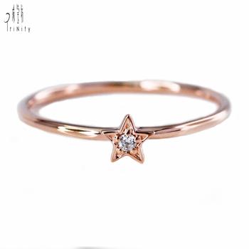 Little Star Shaped 18k Rose Gold Real Diamond Ring Delicate Pop Item