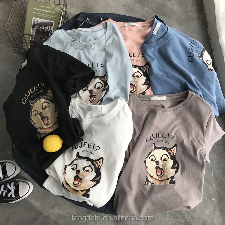 2018 Summer new loose short sleeved color story plain cartoon 3d couple tshirt