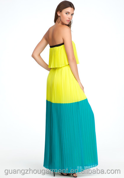 Multicolor Strapless Colorblock Maxi Dress Girls Casual Dresses ...