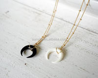 New Design Stainless Steel Beaded Black Double Horn Pendant Necklace, White Double Horn Necklace
