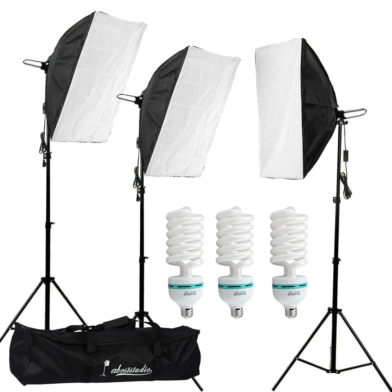 "Abeststudio Professional Softbox Continuous Lighting Kit 3x (20""x28""/50x70cm) Soft Box Photo Studio Set Light 3x 135W 5500K Bulbs Lamp + 1x Portable Carry Bag"