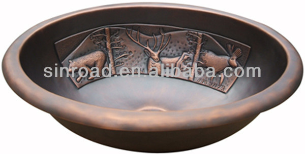 Oval Copper Sinks for Bathroom Use
