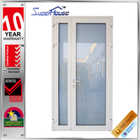 AS2047 unique aluminum double tempered glass hinged door in top quality with German hardware
