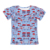 2019 top selling blue short sleeve children clothes ruffle boutique girl tops