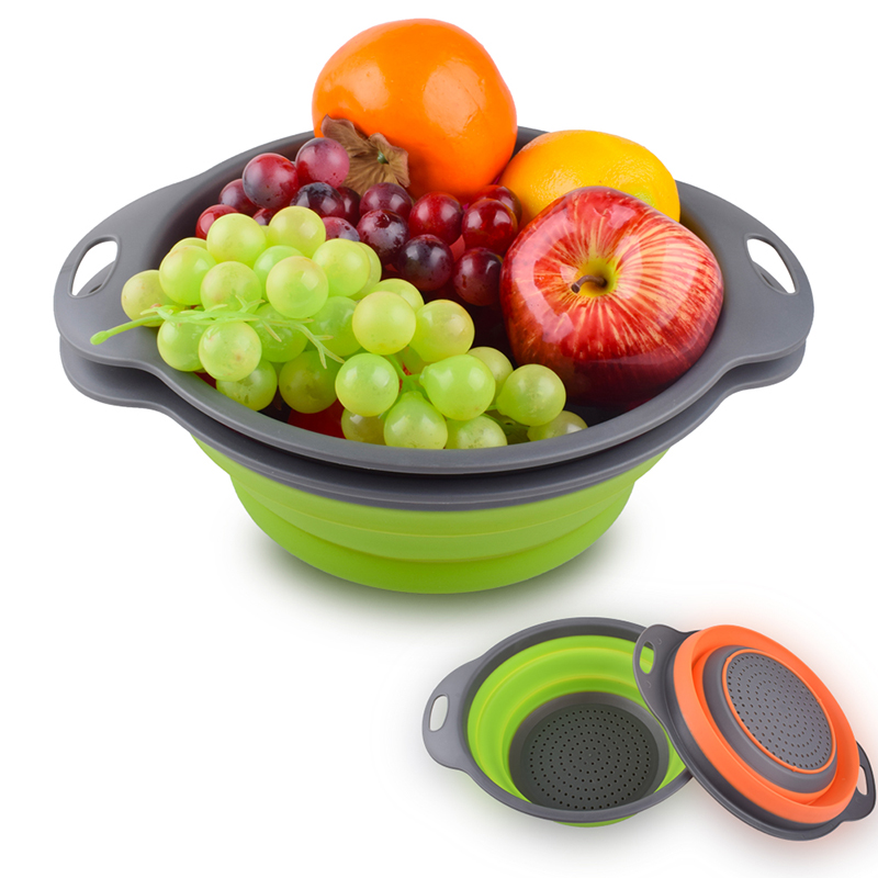 Food-Grade Silicone kitchen Strainer Space-Saver 2 Collapsible Folding Strainer Colanders Set