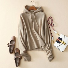 Hoodie sweater pullover with hat pure cashmere knitting sweater raglan sleeves hooded loose sweater for lady