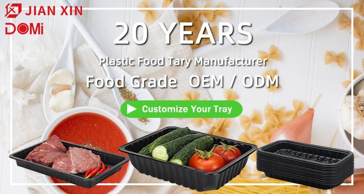 Embalagem Da Bolha De Plástico De Supermercado PP Preto Bandeja de Comida Descartável eco Para A Carne