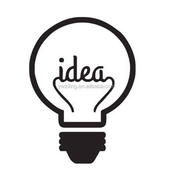 Ide ya776 simbol motivasi wall sticker dekorasi rumah ruang tamu kreatif lampu bola vinyl dinding decals