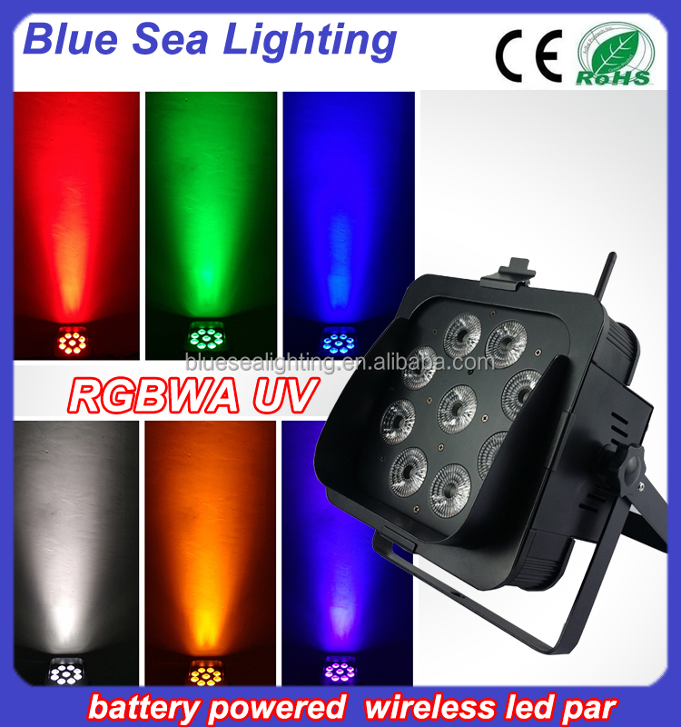 9x18w rgbwa uv 6in1 battery wireless led uv lights with blinder