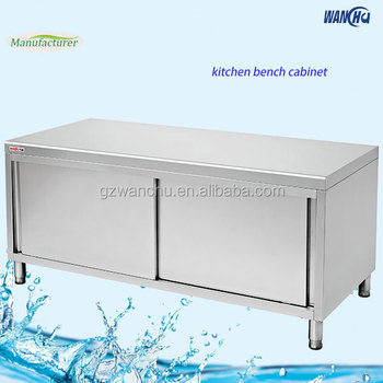 Stainless Steel Commercial Kitchen Bench Cabinet Factory Heavy Duty Island Base With Sliding