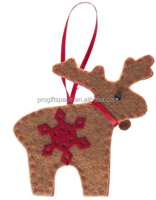 2017 new hotsell eco friendly cheap handmade crafts ornaments wholesale felt Christmas golden deer with snowflake made in China