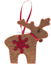 2018 new hotsell eco friendly cheap handmade crafts ornaments wholesale felt Christmas golden deer with snowflake made in China