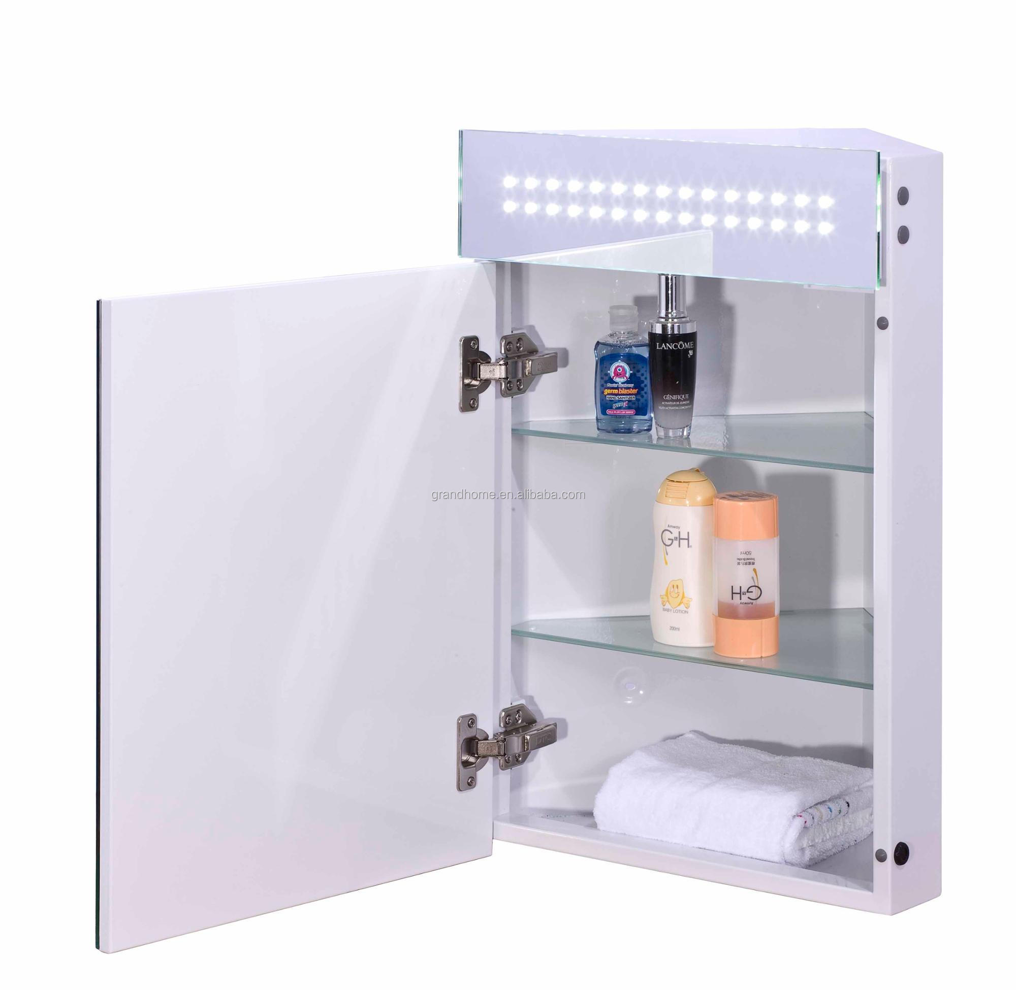 Factory Price Wall Mounted Triangle Mirrored Cabinet Bathroom Led Light Corner Cabinet Buy Corner Cabinet Lighted Medicine Cabinet Led Light Cabinet Product On Alibaba Com