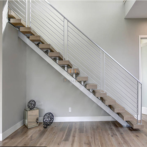 Modern Wood Steps Stainless Steel Stairs Grill Design