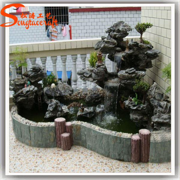 Chinese Large Rockery Fiberglass Waterfalls Natural Stone Buddha Garden  Fountain Outdoor For Sale Fake Stone Outdoor