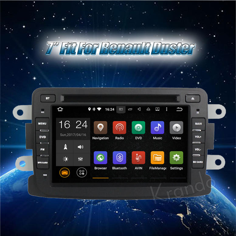 """Krando Android 7.1 7"""" car dvd player multimedia system for Renault Duster car audio radio navigation gps WIFI 4G KD-RD704"""