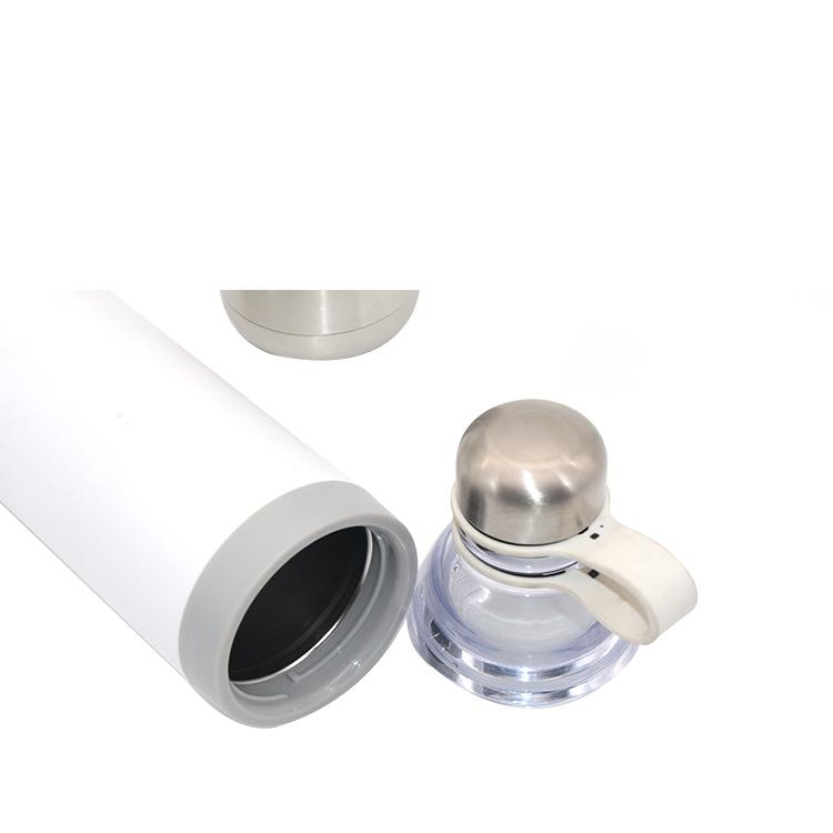 الفولاذ المقاوم للصدأ و الزجاج جدار مزدوج معزول زجاجة مياه فارغة 2 في 1 مع حامل