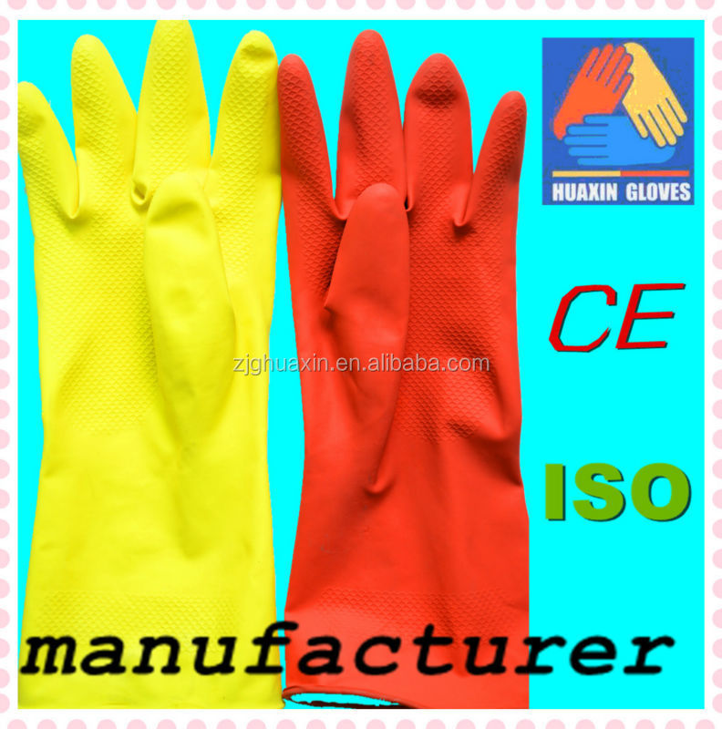 household silicone latex gloves rubber gloves with printed sleeve size L