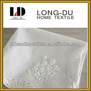 hot sale white lace soft embroidery 100% cotton handkerchief