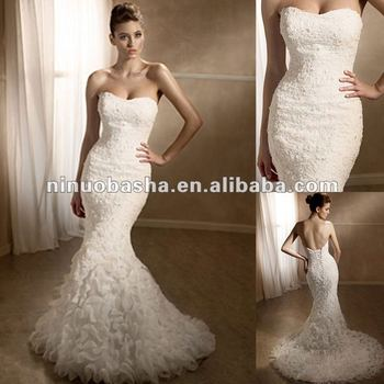 Noble Strapless Mermaid Sweetheart Neckline Beaded Lace Wedding ...
