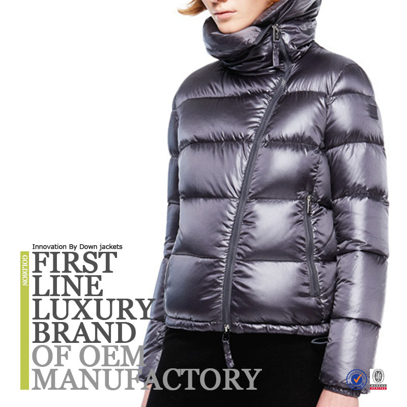 Oem Women 100% Nylon Fabric Goose Down Filling Grey Down Jacket