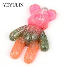 5 шт., милый разноцветный кулон из смолы с маленькими медведями, браслеты из смолы, Шарм Для DIY ожерелья, модные ювелирные аксессуары(Китай)