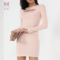 2019 fashion white knitted tight bodycon fitting high quality pink long sleeve woman dress