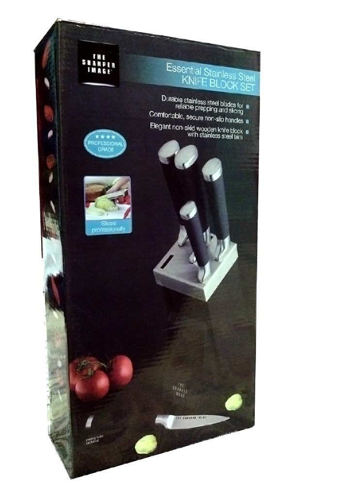 """The Sharper Image; Essential Stainless Steel Knife Block Set of 6 includes: 8""""Chef knife; Bread Knife; 8' Slicing knife; Utility Knife; Paring Knife and Knife Block; TSI-13SS2075"""