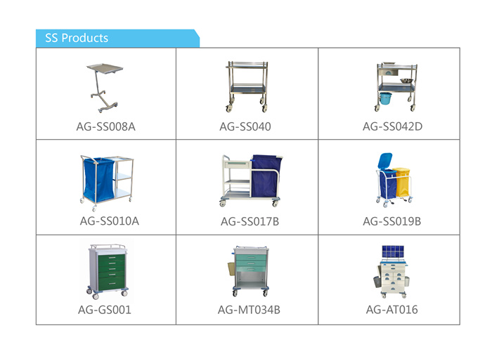 AG-GS002 emergency hospital equipment crash medical trolley stainless steel serving cart