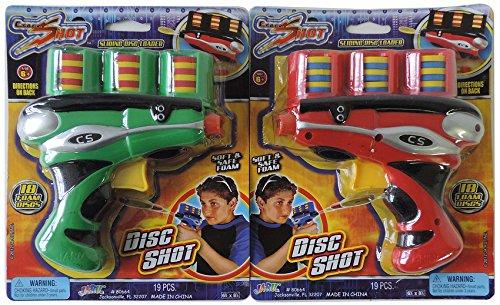 Cybershot disc toy gun set, 2 pack bundle, assorted colors, includes 18 foam discs per gun shooter toy