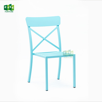 aluminum metal stacking colorful cross back outdoor garden chair E1158