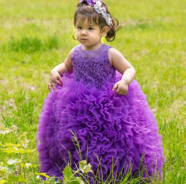 S13355A Fashion Girls Party Dress Rosette Feather Dresses baby dress