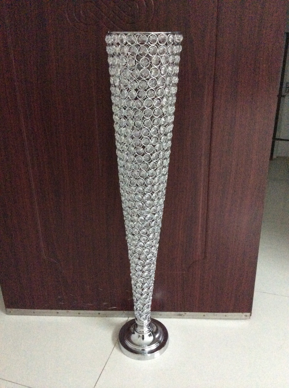 Hot wholesale elegant fashion crystal flower vase tall