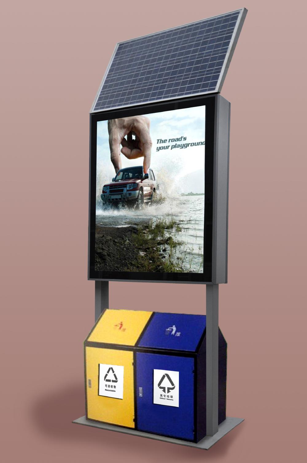 Outdoor Waterproof Led Advertising Metal Solar Dustbin
