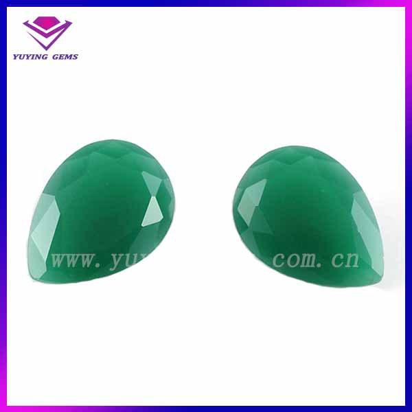10*14mm Pear shape green color glass jade <strong>stone</strong> for making jewelry