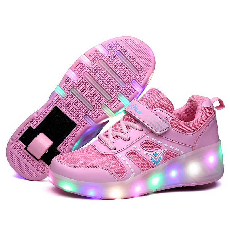 Gift High Quality Shiny Luminous Shoes Girls Boy Led Two Wheels Kids Roller Skate Shoes With Light
