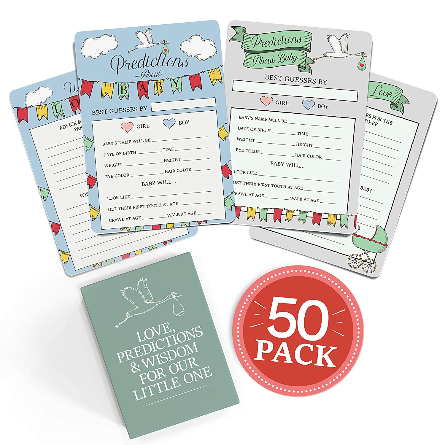 Baby Shower Advice Prediction Cards 50 Pack