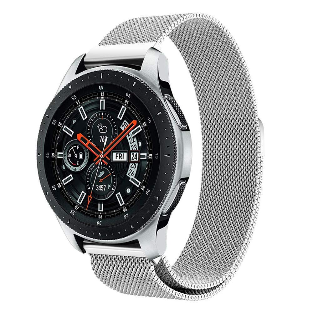 Leefrei Stainless Steel Band 22mm Milanese Loop Replacement Strap Compatible with Samsung Galaxy Watch (46mm), Gear S3 Frontier Classic Smart Watch - Silver