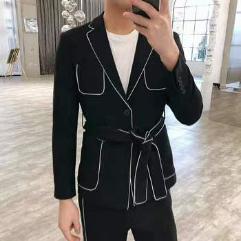 Men's suit Korean version of tall, handsome, simple black waist style matching color net red suit men's two-piece suit trend