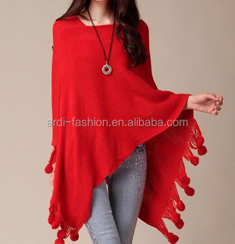 Cheap Sale Poms Red Beige White V neck Hand Knitted Cashmere