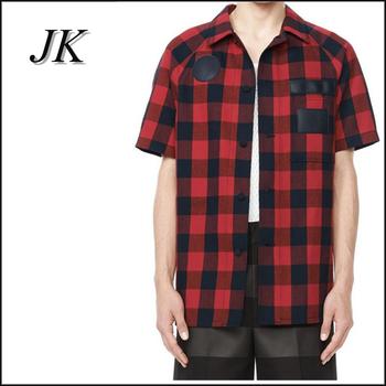Mens Red Flannel Raglan Sleeve Short Sleeve Casual Shirt Buy Short