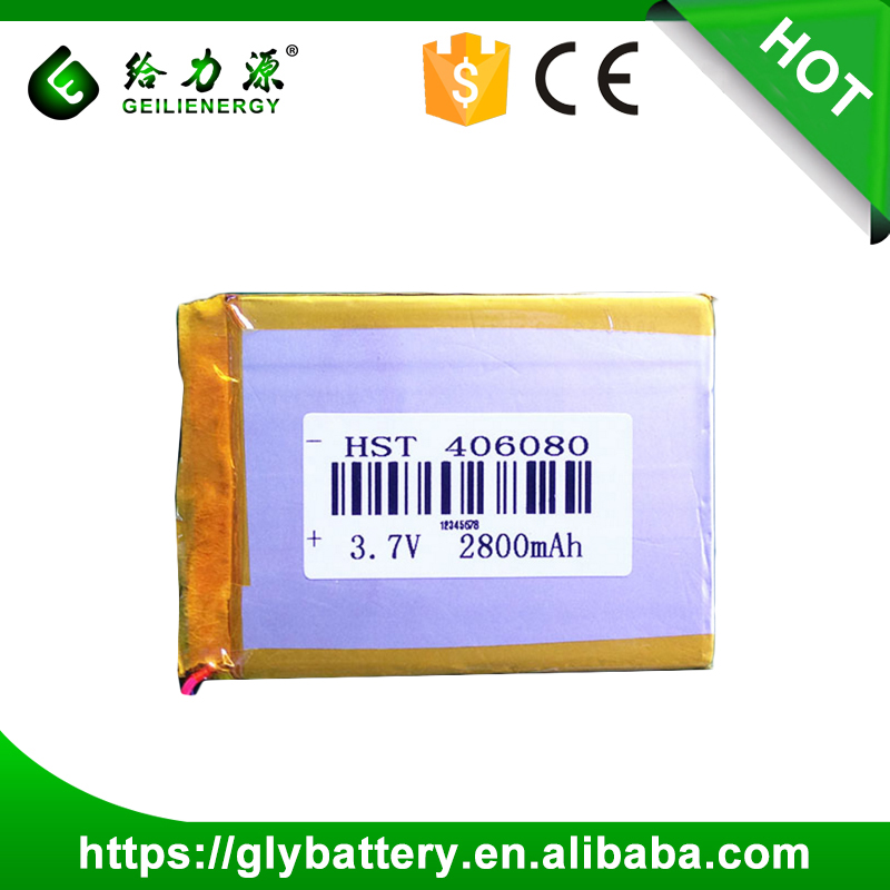 Li-polymer 406080 Chinese Brand Laptops External 3.7V 2800mAh Lithium Polymer Battery