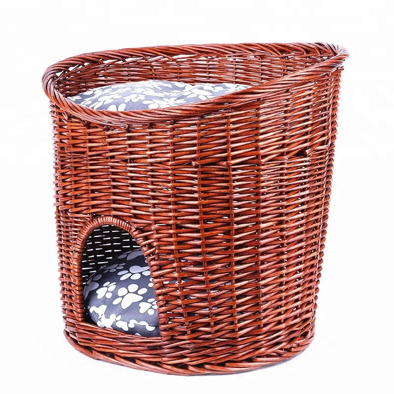 2018 New Luxury Bamboo Wicker Rattan Dog Bed For Pet Puppies