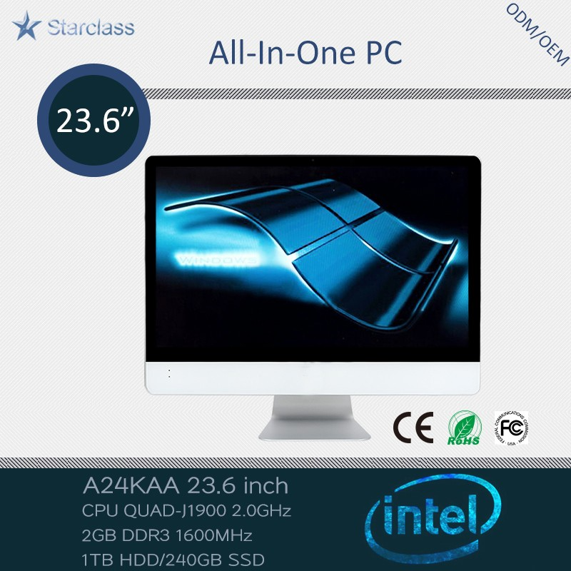 ultra thin 23.6 inch all in one pc desktop <strong>computer</strong> with intel quad core 240g ssd / 1tb hdd ram 2g
