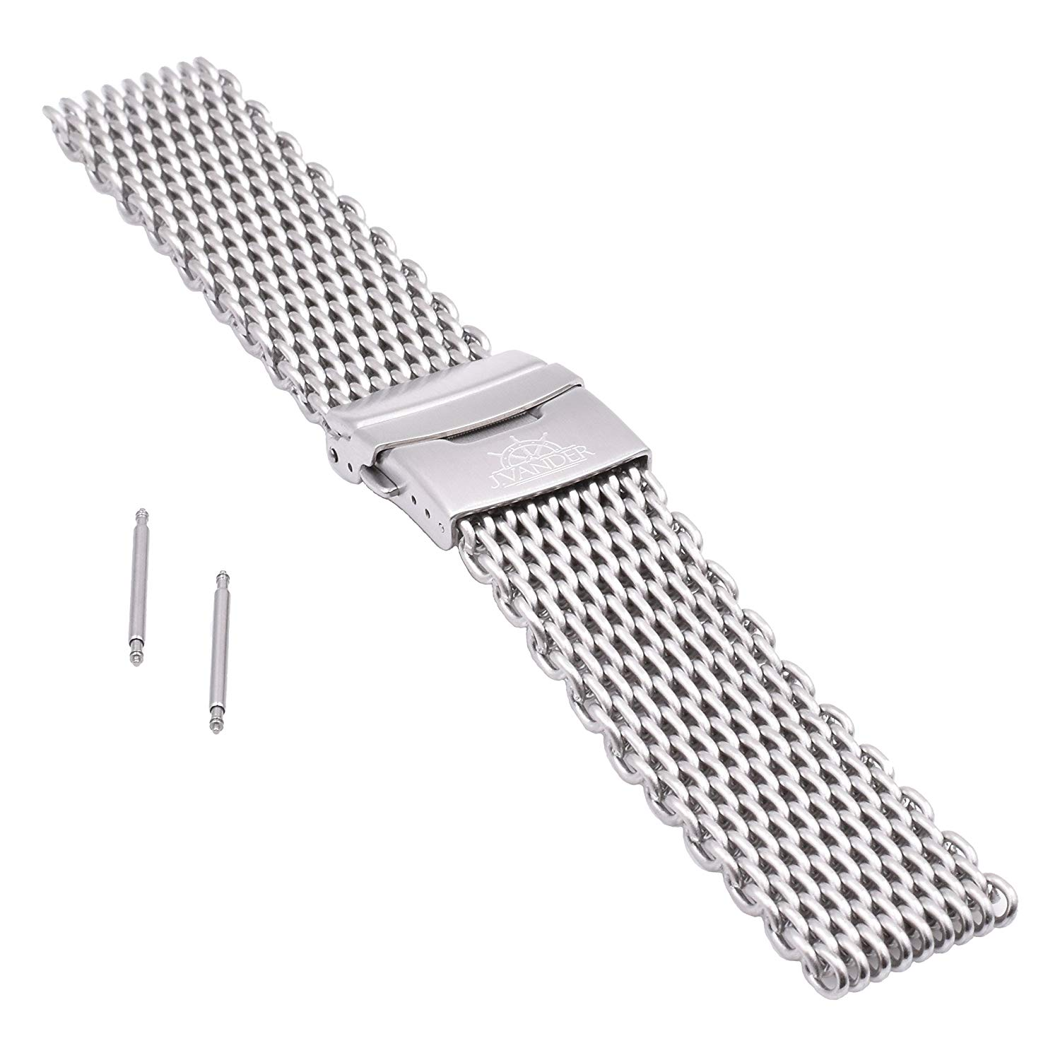 edfb1dcc24f Get Quotations · J.VANDER V.2 Milanese 316L Stainless Steel Shark Mesh Dive Watch  Band Strap