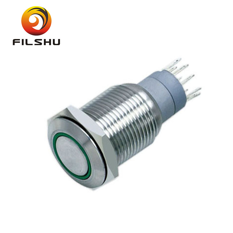 16mm circle illuminated SPDT stainless steel push button <strong>switch</strong>