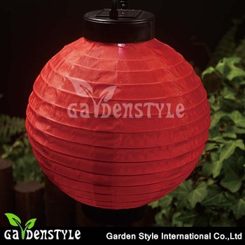Silicon Solar Panel Red Traditional Chinese Paper Lantern Led Hanging Light