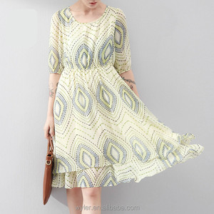 Wholesale New Summer Dress 2015 Bohemian Style Jewelry Printed O-neck Half Sleeve Slim Waist Casual Dresses