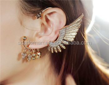 Customed One Side Ear Hanging Earrings No Percing Cuff Earring Gold Pave Rhinestone Feather And