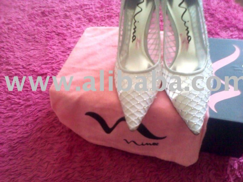 Authentic Spain Nina'sSilver From Satin Shoes Leather Crystal Adorned Genuine Bridal Imported Elegant FrpAwFqx8
